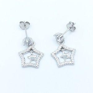 Jewelry - ✨925 SS Round Stud Dangling Stars Earrings✨